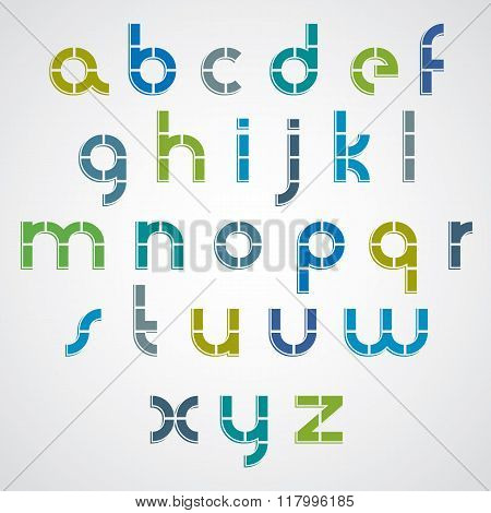 Colorful Dotted Line Bold Font With Rounded Lower Case Letters.