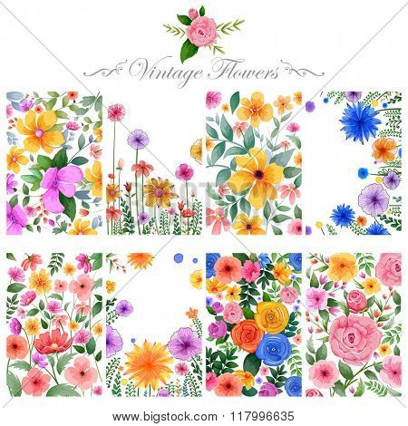 illustration of watercolor floral background for designing purpose