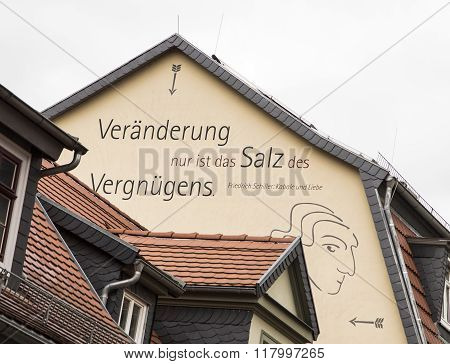 Proverb Of Friedrich Schiller At A House Wall In Old Town Of Rudolstadt