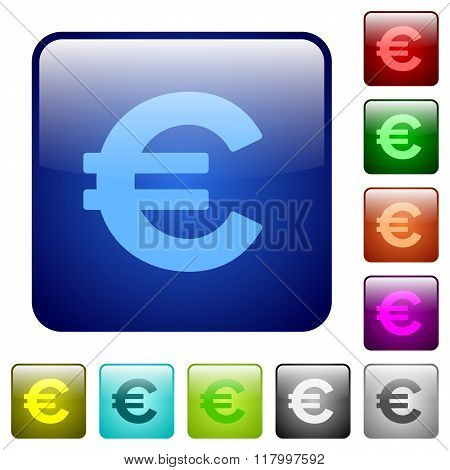 Color Euro Sign Square Buttons