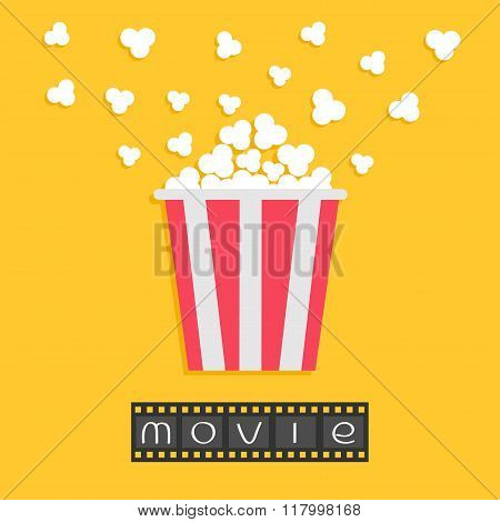 Popcorn. Film Strip. Red Yellow Box. Cinema Movie Night Icon In Flat Design Style. Yellow Background