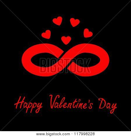 Limitless Red Sign With Heart Symbol. Infinity Icon. Happy Valentines Day. Flat Design. Black Backgr