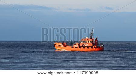Orange Pilot Class Ship In The Sea