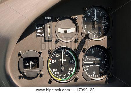 Flight Instruments In Airplane Cockpit