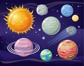 Постер, плакат: Space with Planet Sun and Star Design Flat