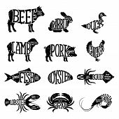 Постер, плакат: Vector Farm Animals And Seafood Collection Butcher Shop And Seafood Shop Labels