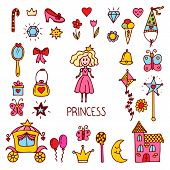 Постер, плакат: Little Princess Design Elements Cute Hand Drawn Princess Collection Sweet Princess Set Of Vector I