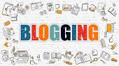 Blogging Concept. Multicolor on White Brickwall. poster