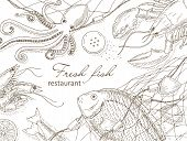 Постер, плакат: Seafood and fish net