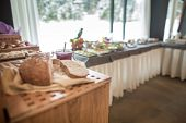 Постер, плакат: Breakfast buffet Served for breakfast Self service all you can eat buffet Hotel canteen breakfast