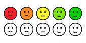 Постер, плакат: Emoji icons for rate of satisfaction level
