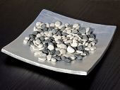 picture of rip-rap  - a lot of pebbles on the metal dish - JPG
