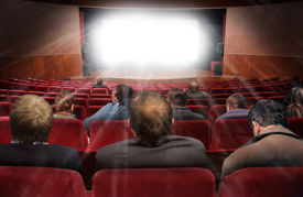 picture of movie theater  - spectators in hall of cinema with movie collage - JPG