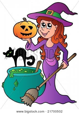 Cartoon Halloween witch with cat - vector illustration.