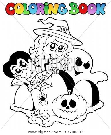 Coloring book Halloween topic 1 - vector illustration.