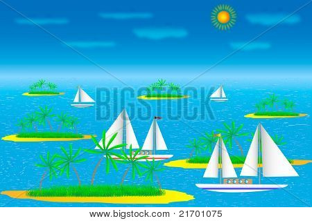 Sea with islands and ships