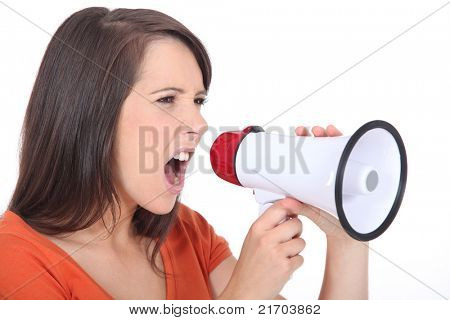 Angry woman screaming in speakerphone