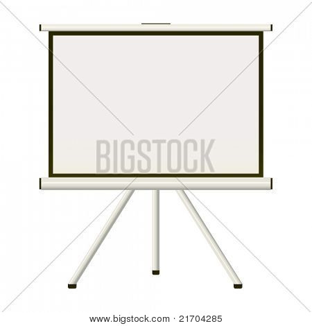 Blank white modern blank projector screen that folds away