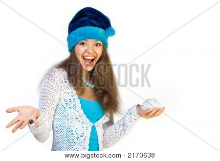 Christmas Laughter Woman With Snowball