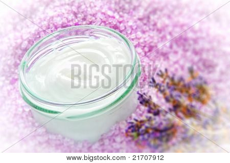 Facial Cream In Glass Jar In A Spa