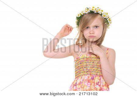 offended girl with wreath of daisies