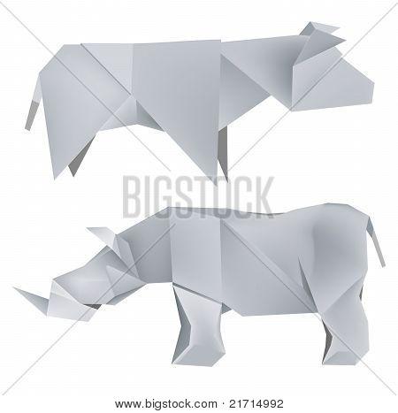 Origami-Nashorn-Kuh