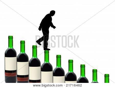 Garrafas de vinho e alcoólatra