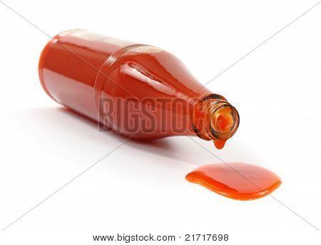 Hot Sauce Spilling From Bottle