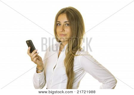 Business Woman Reading Message On Mobile Phone