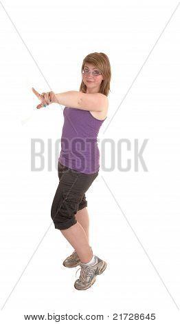 Girl Pointing Finger