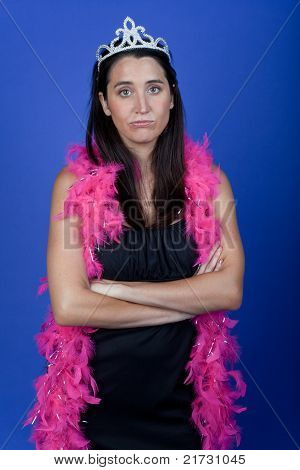 Frowning bachelorette with arms crossed