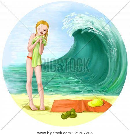 Girl On The Beach Illustration