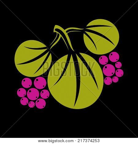 poster of Three vector flat green leaves with purple seeds. Herbal and botany art symbol spring season stylized ecology icon. Environment conservation element.