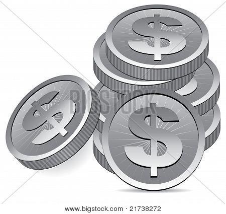 Vector Silver Coins