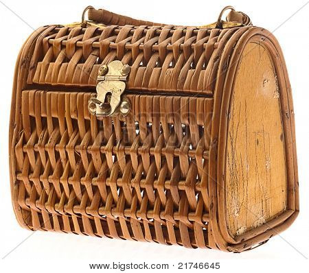 wicker case isolated on white background