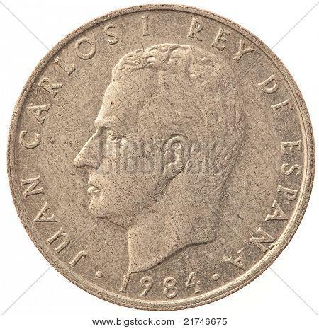 """2 """"pesetas"""" coin on white background"""