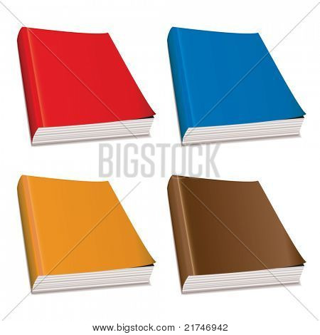 Collection of four hardback paper books with bright covers
