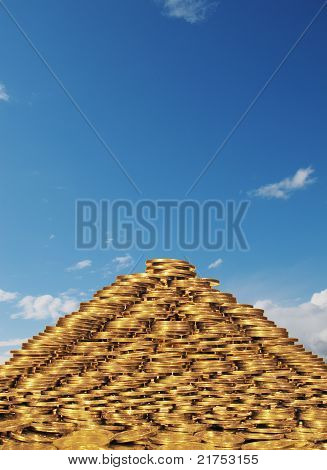 A pyramid of coins