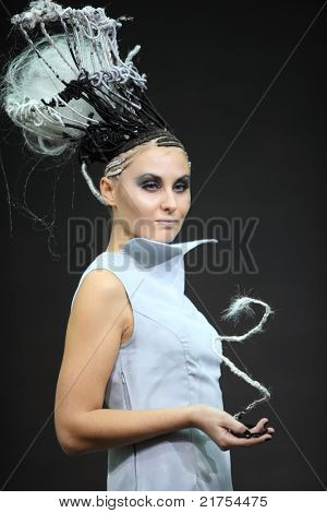 MOSCOW - OCTOBER 2: Model with fanciful braiding hairdo at XVII International Festival