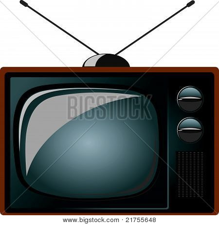 old tv set vector