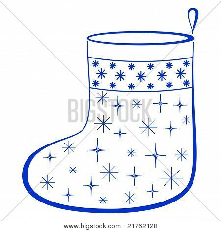 Christmas stocking with fur-trees, pictogram