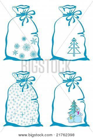 Christmas symbols on bags