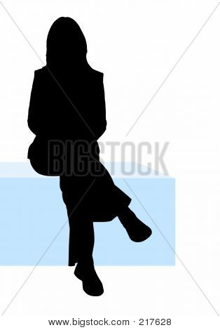 Business Woman Sitting Down Illustration
