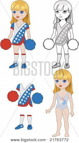 Costume Girl Cheerleader Set