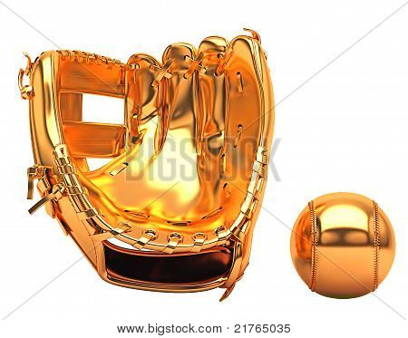 Sports And Leisure: Golden Baseball Glove And Ball Isolated