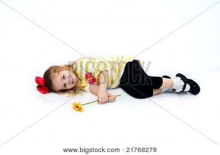 Child With Yellow Daisy
