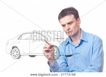 Men Drawing A Car