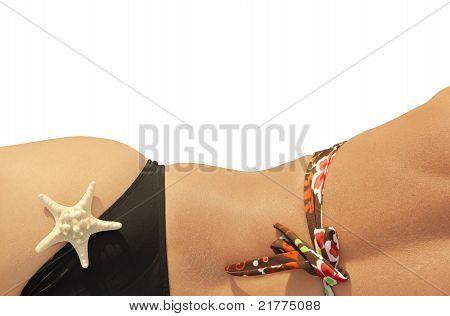 Profile of girl with bikini in the summer