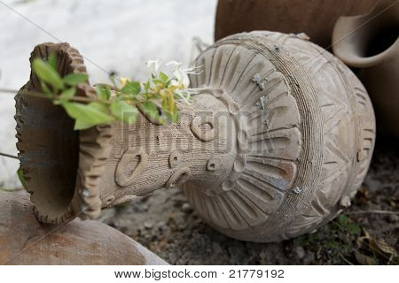 Decorative Earthen Pot Garden Ornament