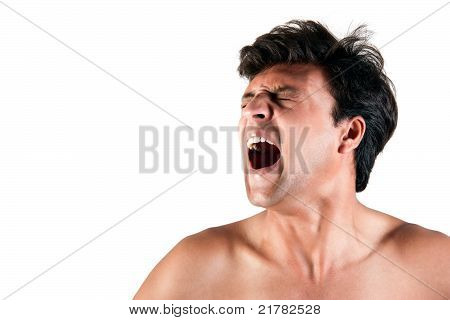Angry Indian man screaming